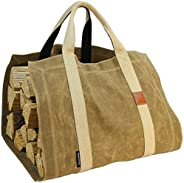 INNO STAGE Waxed Canvas Firewood Log Carrier Tote Bag with Durable Double Straps for Reinforce - Both Front an