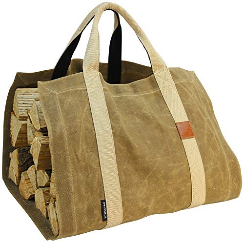 - INNO STAGE Waxed Canvas Firewood Log Carrier Tote Bag with Durable Double Straps for Reinforce - Both Front and Back for Fireplace or Camping