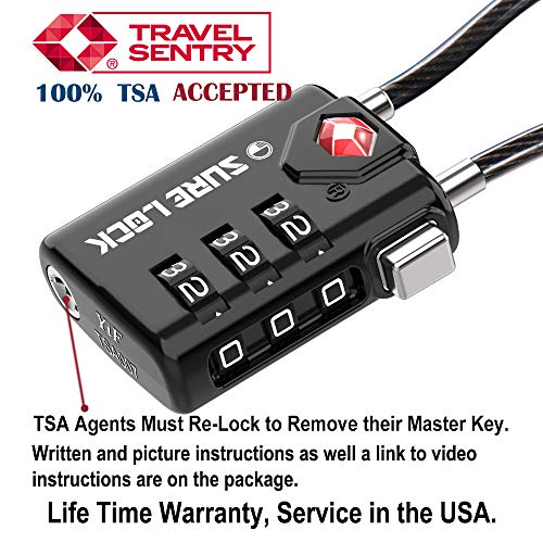 TSA Compatible Travel Luggage Locks, Inspection Indicator, Easy Read Dials TSA Approved Padlock with Zinc Alloy