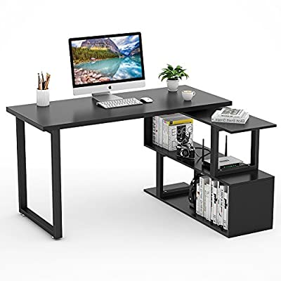 "Tribesigns Modern L-Shaped Desk, 55"" Rotating Desk Corner Computer Desk Study Writing Table Workstation with Shelves for Home Office Use (Black)"