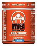 Muscle Beach Nutrition Pre-Train 25 Servings (Blue Razz) Pre Workout Nitrate Supplement