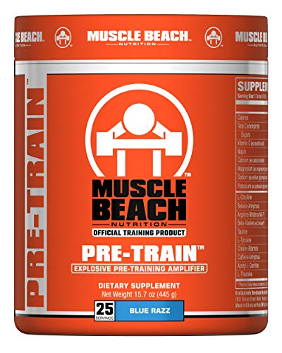 Muscle Beach Nutrition Pre-Train 25 Servings Blue Razz Pre Workout Nitrate Supplement