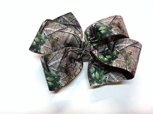 (Girls Tan Brown Green Camouflage Hair Bow Handmade Teen Camo Hair Accessory)