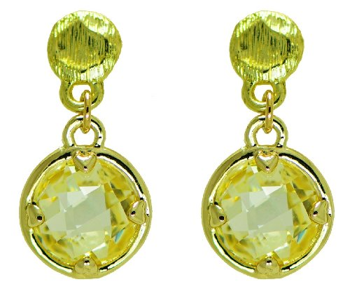 Yellow Faceted Crystal Round Gold Tone Post Fashion Drop Earrings