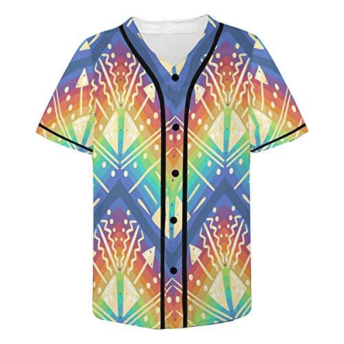 INTERESTPRINT Men's Psychedelic Rainbow Baseball Jersey Button Down T Shirts Plain Short Sleeve L