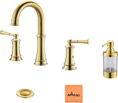 3 hole gold bathroom sink faucet widespread solid brass 2 handles vanity lavatory vessel faucets with pop up drain assembly and soap dispenser