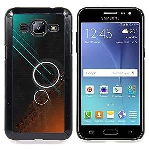 BullDog Case - FOR Samsung Galaxy J2 - Rings Teal Brown Dark Sci-Fi - Dise???¡¯???¡Ào para el caso de la cubierta de pl???¡¯????stico Chicas