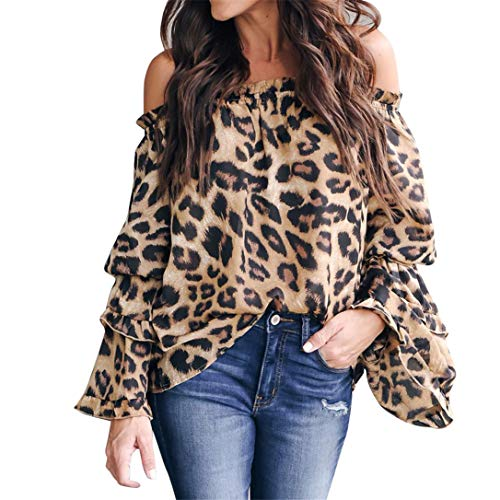 FRCOLT Blouse, Women's Off The Shoulder Leopard Print Flare Sleeve Long Sleeve Tops (S, Multi)