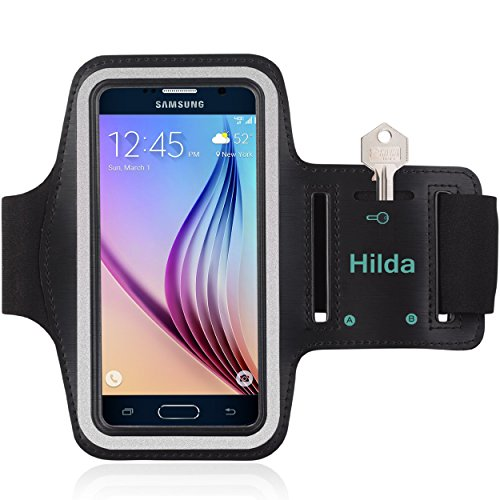 Hilad Armband for Galaxy S6 S6 Edge Feartured with Sport Scratch Resistant Material Slim Lightweight Dual Arm Size Slots Sweat Resistant Key Pocket with Headphone Port Black (Htc One Max Stitch Case)