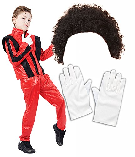 Boys Michael Jackson 80S Fancy Dress Costume With Wig & Gloves Age 4-6 (Fancy Dress Red Wig)