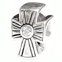 Antique .925 Sterling Silver Holy Cross Clear Cz Crystal Bead For Pandora European Charm Bracelets