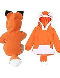 Kids Clothing Hosamtel Baby Boy Girl Cartoon Fox Hooded Jacket Outwear Sleeper