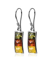 Sterling Silver Multicolor Amber Rectangular Hook Earrings