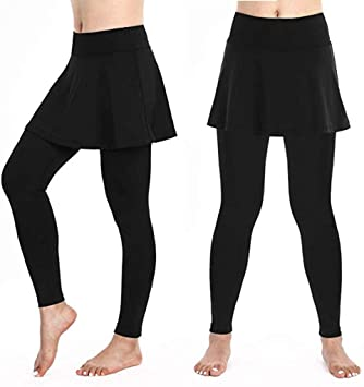 Excursion Clothing Women High Waist Yoga Pants, Solid Color Fitness Running Sports Leggings Skirt, Tummy Control Ultra-Soft Stretch Tennis Golf Tights