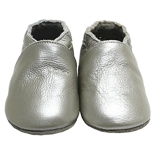 Loafer Soft Soled Leather Shoes (Mejale Baby Silver Soft Soled Leather Moccasin Infant Toddler Prewalker Boy Shoes)