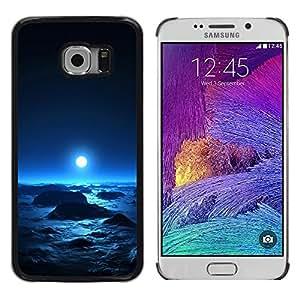 QCASE / Samsung Galaxy S6 EDGE SM-G925 / luna espacio azul brillante planeta cosmos alienígenas / Delgado Negro Plástico caso cubierta Shell Armor Funda Case Cover