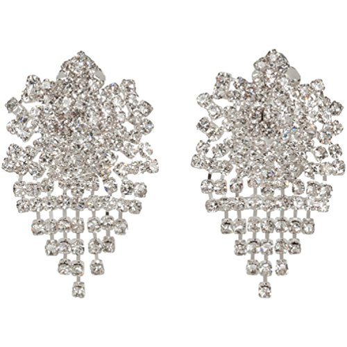 Heirloom Finds Dazzling Crystal Marquise Center Clip On Earrings Bridal Wedding