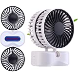 DAPENCOCO Mini Table Desk Personal Fan [Dual Fan] ideal For Home Office School Travel and Outdoor Sport (white)