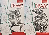 iDraw Learn To Draw Instructional Step-by-Step Tutorial Books, Horses and Dinosaurs 2-bk Set