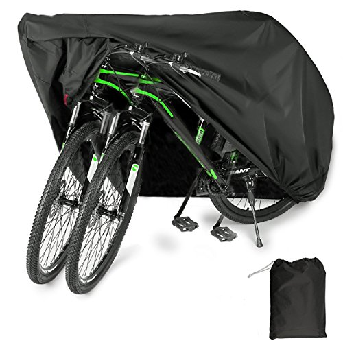 EUGO Bike Cover for 2 Bikes Outdoor Waterproof Bicycle Covers 210D Oxford Fabric Rain Sun UV Dust Wind Proof for Mountain Road Electric Bike by EUGO