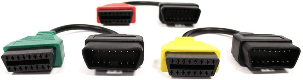 C/âble dadaptateur de connecteur OBD II /à Fiat Alfa-Romeo pour FiatECUscan Kit de 3 c/âbles BeMatik