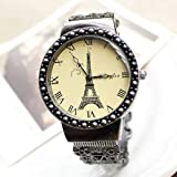Generic Retro Vintage Classic Unisex Eiffel Tower Style Quartz Fashion Flower Bracelet Wrist Bangle Cuff Watch Gift, Watch Central