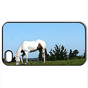 Apache in Pasture - Case Cover for iPhone 4 and 4s (Horses Series, Watercolor style, Black)