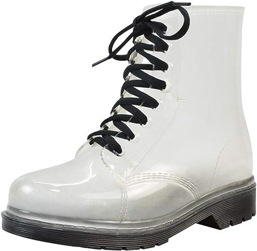 uirend Stiefel Stiefeletten Schuhe Damen wasserdichte Transparente Gummistiefel Schnee Regen Warm Chelsea Boots Winter Regenstiefel