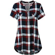 Finice Women's Zip V Neck Short Sleeve/Sleeveless Casual Shirt