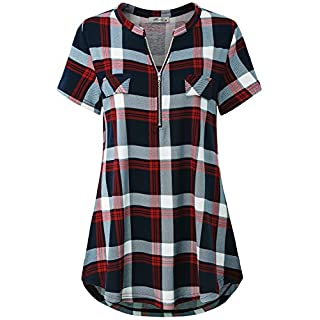 Work Blouses for Women Fashion 2020, Misses Tops Zipper V Neck Tunic Dressy Short Sleeve Shirttail Hem Geometric Plaid Printed Tee Shirt Career Clothes Red XL