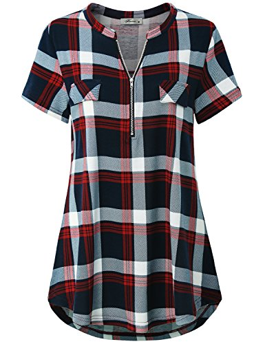(Finice Womens Tops and Blouses, Ladies Boutique Clothing Fashion Notch Collar Shirt Split V Neck Short Sleeve Half Zip Pullover Tunic Basic Comfort Lightweight Plaid Tshirt Red L)