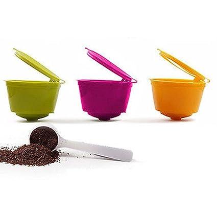 YISER 3 Pack Cápsulas Filtros de Café Recargable Colores Reutilizable para Cafetera Dolce Gusto