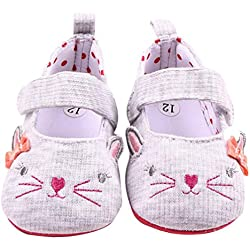 Amiley Baby Newborn Girl Bowknot Cute Cat Face Mary Jane Sandal Dress Crib Shoes (Size 11 (US:3---0~6 Month))