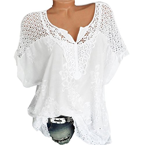 HULKAY Women's Boho Short Sleeve Tops -Ladies Hollow Lace V Neck Solid Color Shirt Top Blouse Tee T-Shirt for Women(White,L) from HULKAY