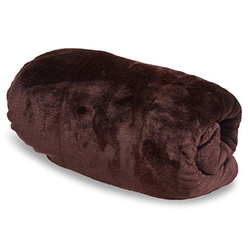 Dark Brown Plush (Vera Throw Blanket OVERSIZED 50x 80 Reversible Extra Comfortable - Dark Brown)