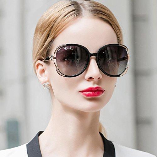 Cara Color Polarizada Gente delgada Señora WLHW Elegante Gafas black sol el Gafas Bright de black Estrella sol Marea grande Era con Bright Caja de larga redondas párrafo Gafas qBvgHqwx