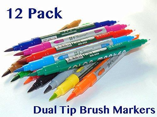 Dual Tip Brush Pen Set 12 PACK - Brush Tip & Fine Tip - Watercolor Markers, Blending, Shading, Calligraphy,...