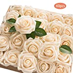 TOPHOUSE-60pcs-Artificial-Flowers-Roses-Real-Touch-Fake-Roses-for-DIY-Wedding-Bouquets-Bridal-Shower-Party-Home-Decorations-Cream