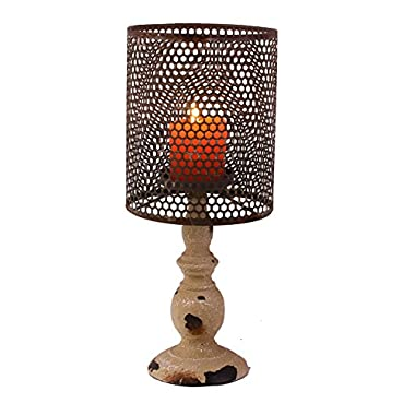 YK Decor Metal Vintage Look Candle Holder Candle Lamp, Black