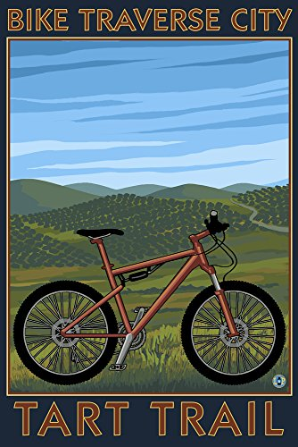 Traverse City, Michigan - Bike Tart Trail (9x12 Collectible Art Print, Wall Decor Travel Poster)