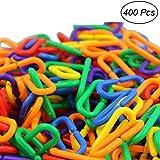 TOYMYTOY 400pcs Plastic C-clips Hooks Chain Links C-links Kids Educational Toy Rat Parrot Bird Toy Parts