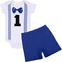 FYMNSI Baby Boys 1st Birthday Cake Smash Short Sleeve Print Romper Shorts Gentlemen Outfits Fancy Photo Shoot Costume