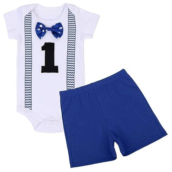 e0b75f09565bc FYMNSI Baby Boys 1st Birthday Cake Smash Short Sleeve Romper Shorts  Gentlemen Outfits