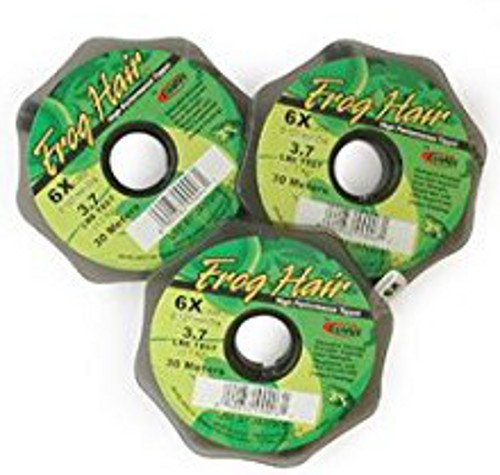 Frog Hair Mono Fly Fishing Tippet, 3 Pack, 3X, 4X, 5X