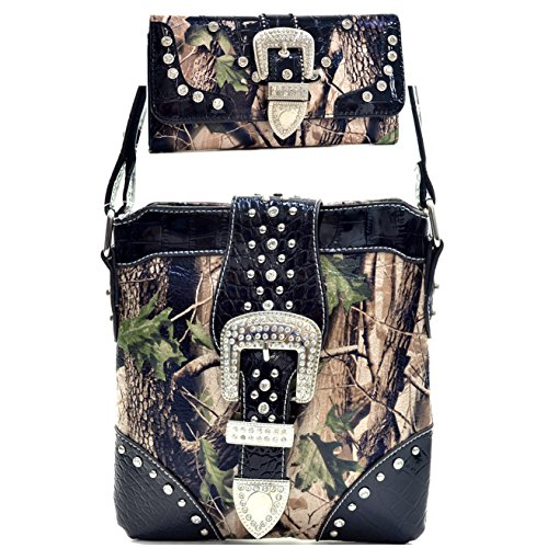 Western Camouflage Rhinestone Buckle Belt Como Cross Boday Messenger Bag With Matching Wallet - (Black Buckle Purse)