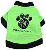 SMALLLEE_LUCKY_STORE Dog Paw Shirt for Small Dogs, Small, Green