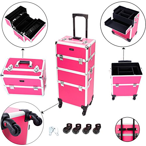 Mefeir 3-in-1 Rolling Makeup Train Case,4 Removable Travel Wheels w/ Lockable Keys +Shoulder Strap,Aluminum Cosmetic Trolley Beauty Artist Organizer (Rose-Pink)