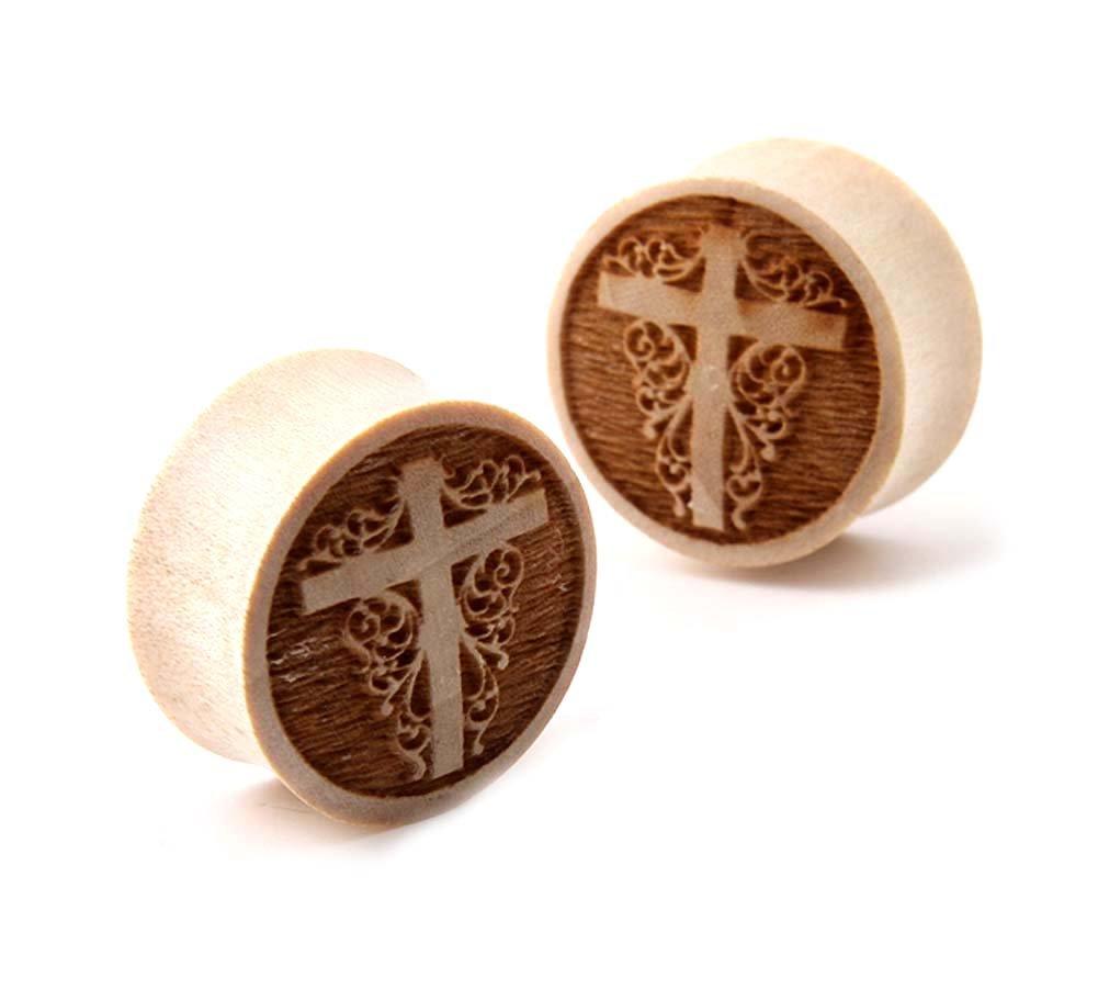 Pair Jesus Christ Cross Double Flare Organic Crocodile Wood Ear Plugs
