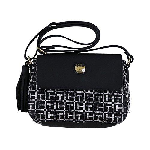 - Tommy Hilfiger Womens Logo Canvas Crossbody Bag, Black