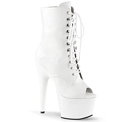 0a57c75a43752 Pleaser Adore-1021 Clubwear, Front Lace Ankle High Platform Boots. White  Faux Leather